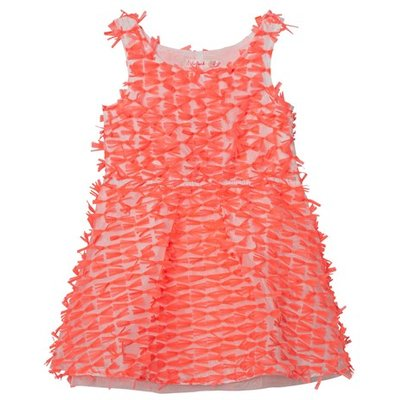 Neon Pink Organza All Over Bow Dress