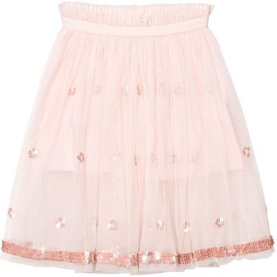 Blush Pink Ballerina Length Skirt with Sequin Detail