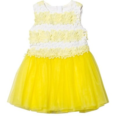 Yellow and White Lace and Tulle Sleeveless Dress