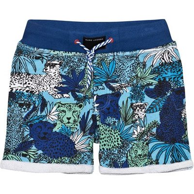 Blue Jersey Jungle Print Shorts