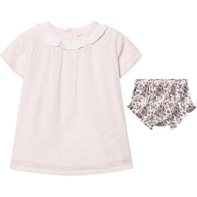 Pink Embroidered Top and Floral Bloomers Set