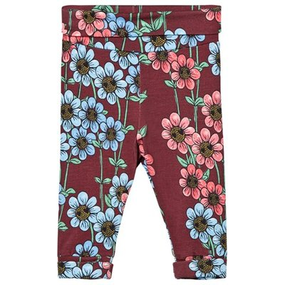 Burgundy Daisy Leggings