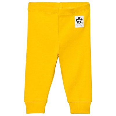 Yellow Solid Rib Leggings