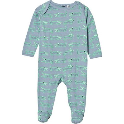 Blue Babygrow with Crocodile Print