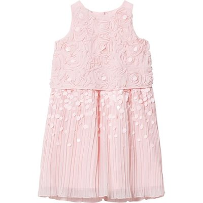 Pink Rose Detail and Pleated Sequin Occasion Dress