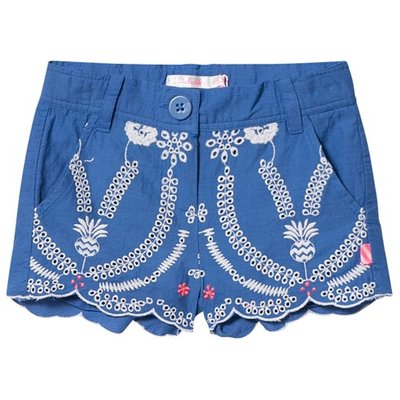 Blue Broderie Anglaise Scallop Edge Shorts