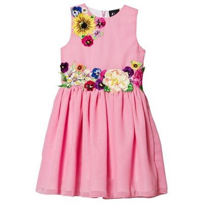 Pink Chiffon and Flower Embroidered Dress
