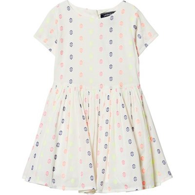 White Jacquard Spot Twirl Dress