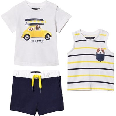 White Dog and Car Print Tee, Vest and Shorts Set