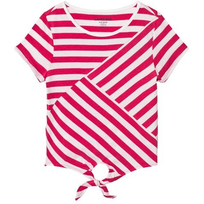 Multi Pink and White Stripe Tie Front Top