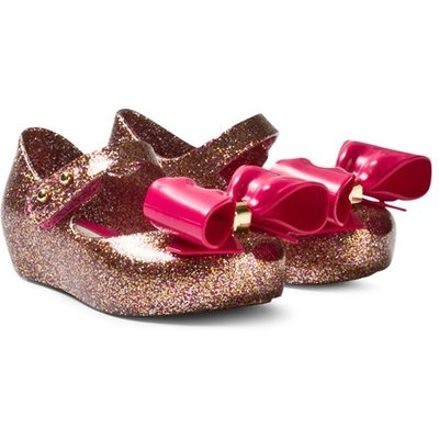 Pink and Gold Glitter Bow Shoes