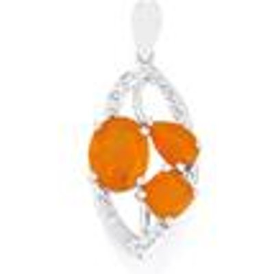 AA Orange  Honey American Fire Opal Pendant with White Topaz in Sterling Silver 3.11cts