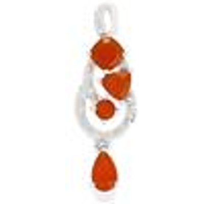 AA Strawberry  Orange American Fire Opal Pendant with White Topaz in Sterling Silver 2.12cts