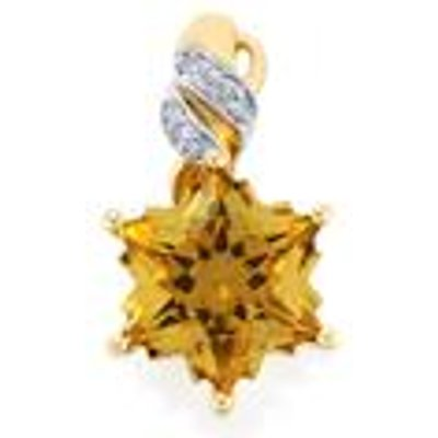 Champagne Quartz & Diamond 9K Gold Wobito Snowflake Pendant ATGW 3.85cts