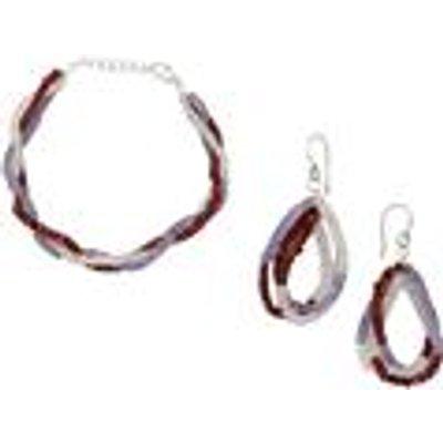 Tanzanite  Garnet & Rainbow Moonstone Sterling Silver Set of Bracelet and Earrings ATGW 52.00cts