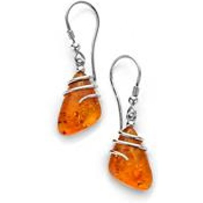Baltic Cognac Amber Earrings in Sterling Silver (16x10mm)