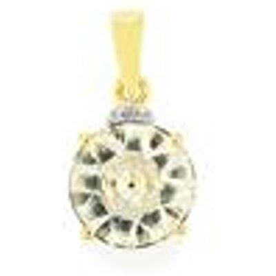 Lehrer KaleidosCut White Quartz  Ceylon Sapphire Pendant with Diamond in 9K Gold 2.95cts
