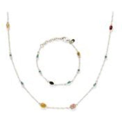 Multi-Colour Tourmaline & Russian Apatite Sterling Silver Set of Necklace & Bracelet ATGW 8.44cts