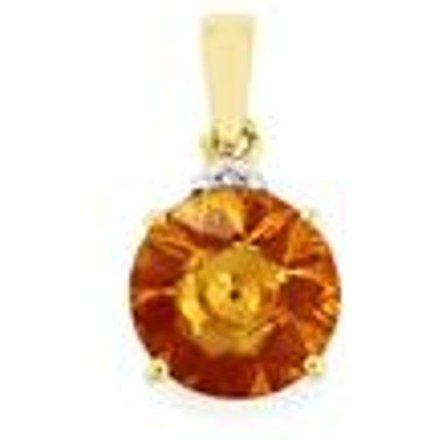 Lehrer KaleidosCut Rio Golden Citrine  Madagascan Ruby Pendant with Diamond in 9K Gold 2.91cts (F)