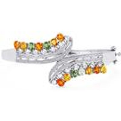 Rainbow Sapphire Oval Bangle with White Topaz in Sterling Silver 7.86cts