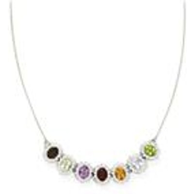 Multi-Colour Gemstones Sterling Silver Necklace ATGW 13.07cts