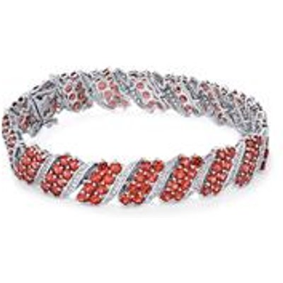 Mozambique Garnet Bracelet with White Topaz in Sterling Silver 22.05cts