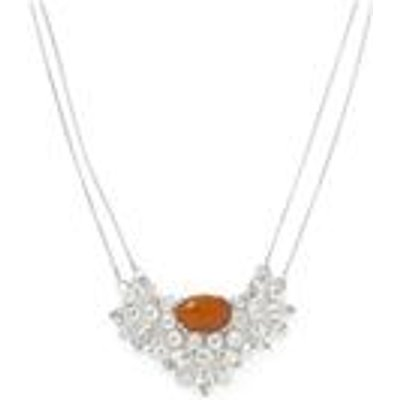AA Orange American Fire Opal & White Topaz Sterling Silver Necklace ATGW 11.22cts