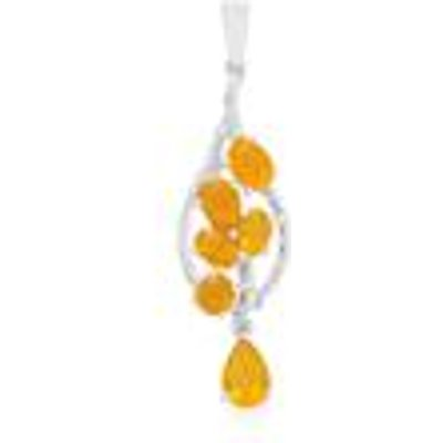 AAA Honey  Orange American Fire Opal Pendant with White Topaz in Sterling Silver 2.87cts