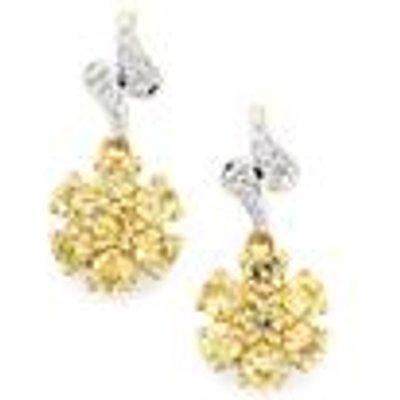Ceylon Zircon Earrings with Diamond in 9K Gold 2.37cts
