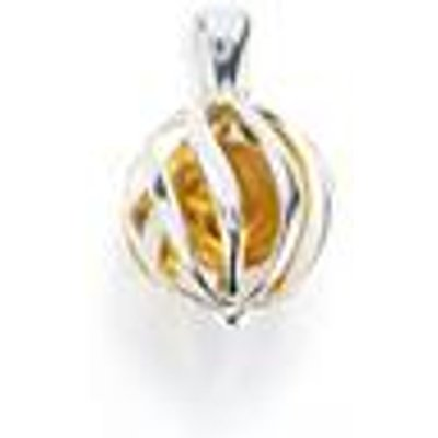 Baltic Champagne Amber Sterling Silver Pendant (10mm)