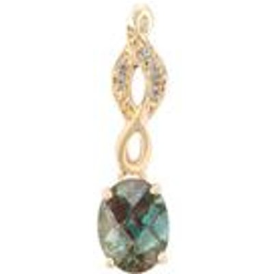 Green Colour Change Andesine Pendant with White Topaz in 9K Gold ATGW 1.13cts