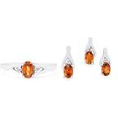 Cognac Zircon Set of Ring  Earring & Pendant with White Topaz in Sterling Silver 3.07cts