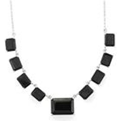 Black Spinel Necklace in Sterling Silver 30.20cts