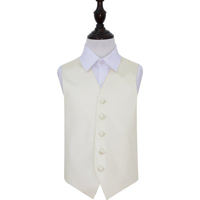 Boy's  Ivory Plain Satin Wedding Waistcoat 26