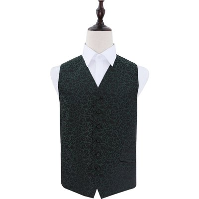 Black & Green Swirl Patterned Wedding Waistcoat 50