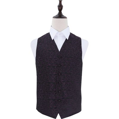 Black & Purple Swirl Patterned Wedding Waistcoat 38