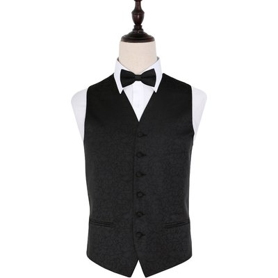 Black Swirl Patterned Wedding Waistcoat & Bow Tie Set 36
