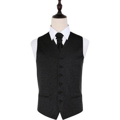Black Swirl Patterned Wedding Waistcoat & Cravat Set 38