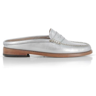 Weejuns Penny Slide Wheel Silver Textured Leather