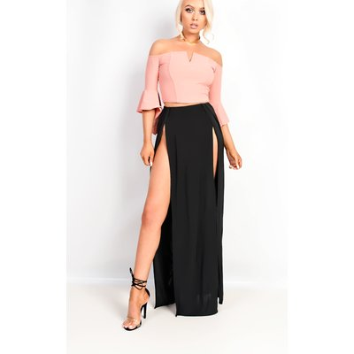IKRUSH Womens Shelly Bardot Frilled Sleeve Crop Top