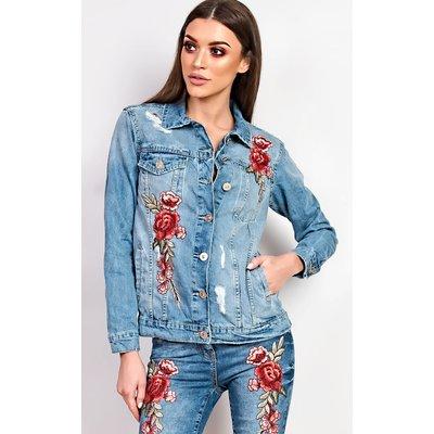 IKRUSH Womens Dariela Embroidered Denim Jacket