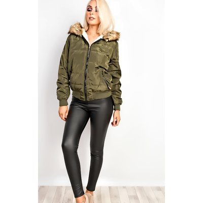 IKRUSH Womens Racquel Faux Fur Quilted Jacket