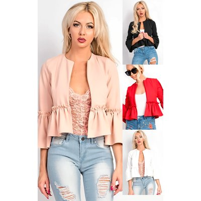 IKRUSH Womens Phoebe Collarless Frill Bell Sleeve Blazer Jacket