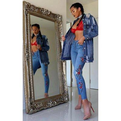 IKRUSH Womens Emrata Embroidered Skinny Jeans
