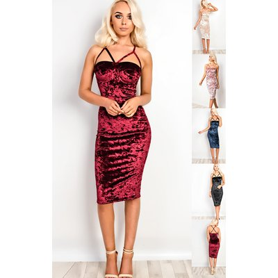 IKRUSH Womens Amrezy Crushed Velvet Strappy Bodycon Dress