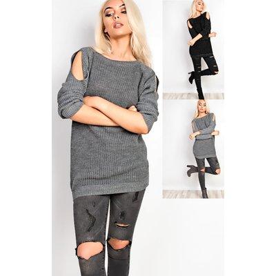 IKRUSH Womens Merissa Cold Shoulder Knitted Jumper