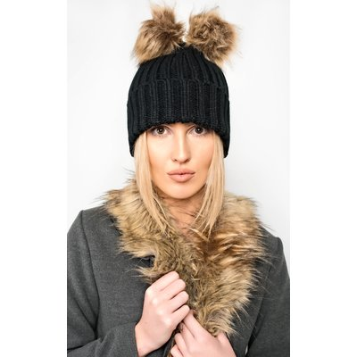 IKRUSH Womens Bellamay Knit Double Pompom Hat