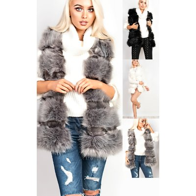 IKRUSH Womens Orla Faux Fur Gilet, Grey