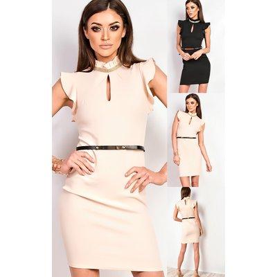 IKRUSH Womens Annetta Frill Diamante Neckline Dress