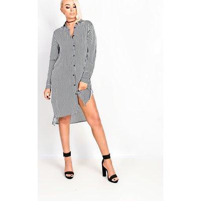 IKRUSH Womens Kaydee Black Stripe Shirt Dress